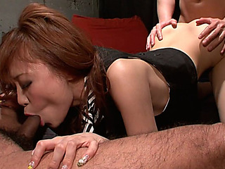 Constricted Oriental college doxy Misa Kikoudengets screwed by 2 knobs in 3some