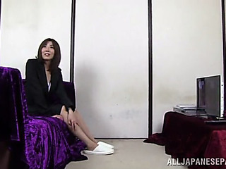 Oriental doxy sucks on a guy's hard dick previous to being screwed