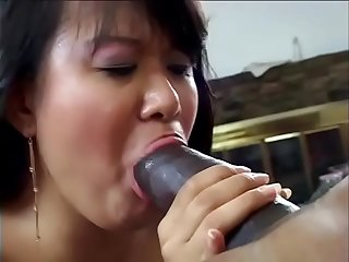 Superb east asian whore trying big long black cock at first time in motel