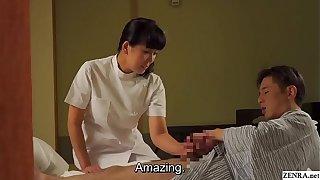 Mature Japanese masseuse gives client handjob Subtitles