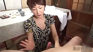 Japanese slim woman handjob