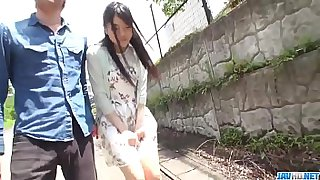 Hot japan girl Misaki Oosawa lick cock and fuck in excellent outdoor scene