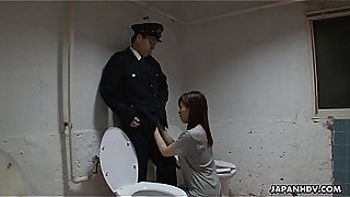 Asian prisoner sucking off the guard's penis