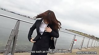 Pantyhosed Japanese office lady gets roughly used before being spunked